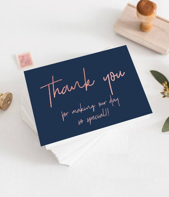 Navy Rose Gold Thank You Card Template Instant Download Navy Blue Wedding Thank You Folded Card Template Mode Kartu Nama Bisnis Kartu Nama Contoh Kartu Nama