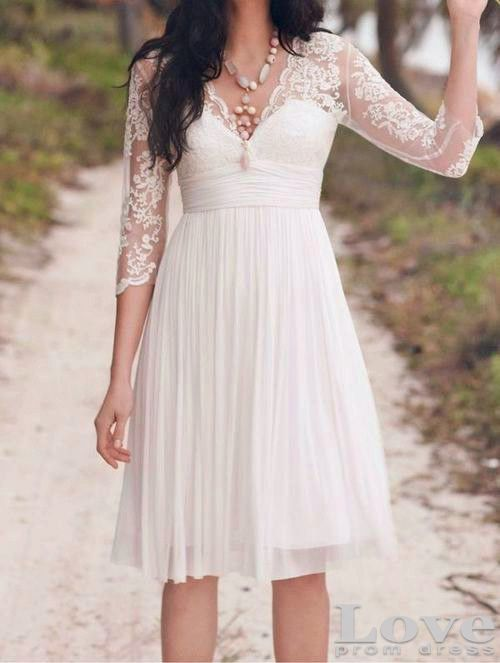 Cheap Vintage Long Sleeves Lace Wedding Dress,Beach Wedding Dress, Short Lace Bridal Dress, Custom Made Lace Bridal Gown