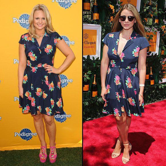 MIRANDA VS. LO    La cantante de música country Miranda Lambert y la socialité Lo Bosworth eligieron este vestido azul marino con estampado en flores de la firma Shoshanna.