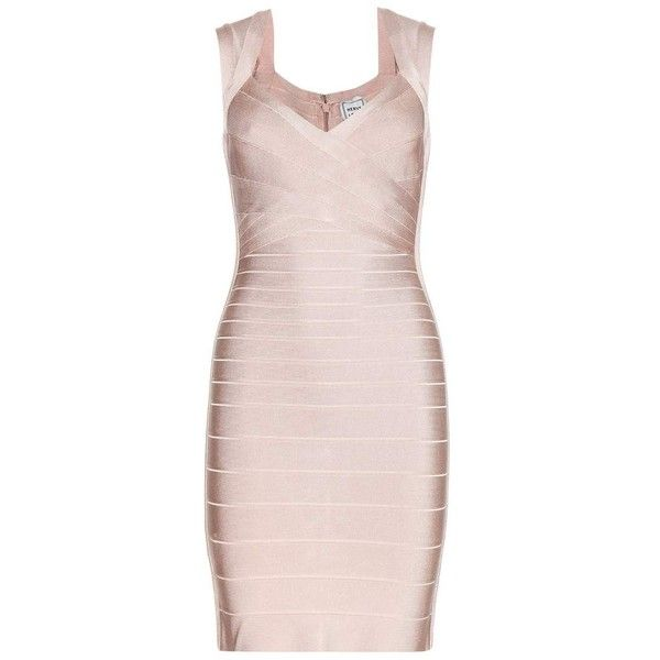 Hervé Léger Sarai Signature Bandage Dress ($1,558) ❤ liked on Polyvore featuring dresses, cocktail/gowns, neutrals, cocktail dresses, special occasion dresses, evening dresses, holiday dresses and nude bandage dress