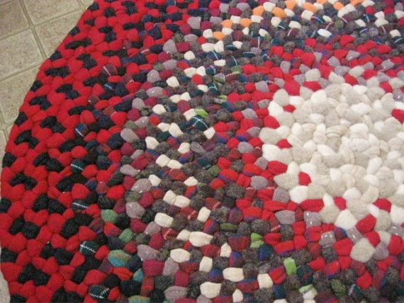 Vintage Wool Braided Rug In Red And Dark Gray From By Mrsginther