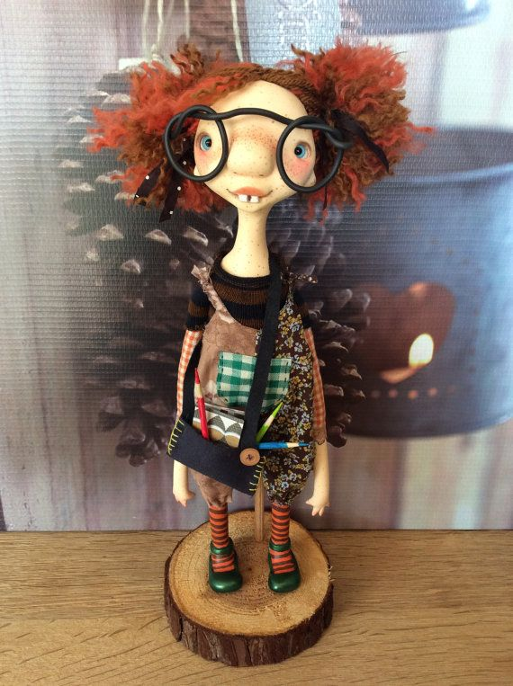 OOAK art doll Moppiedoll clay doll decorative doll by Moppiedoll