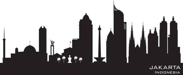 Jakarta Indonesia City Skyline Silhouette Vector Art Illustration City Skyline Silhouette Silhouette Illustration City Silhouette