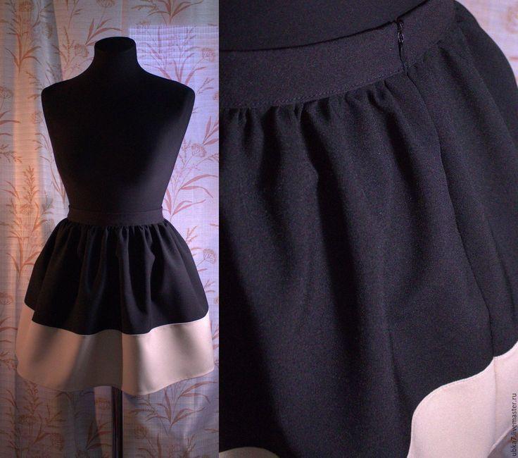 Купить Юбка колокол со вставкой - черный, юбка, юбка колокол, женская одежда