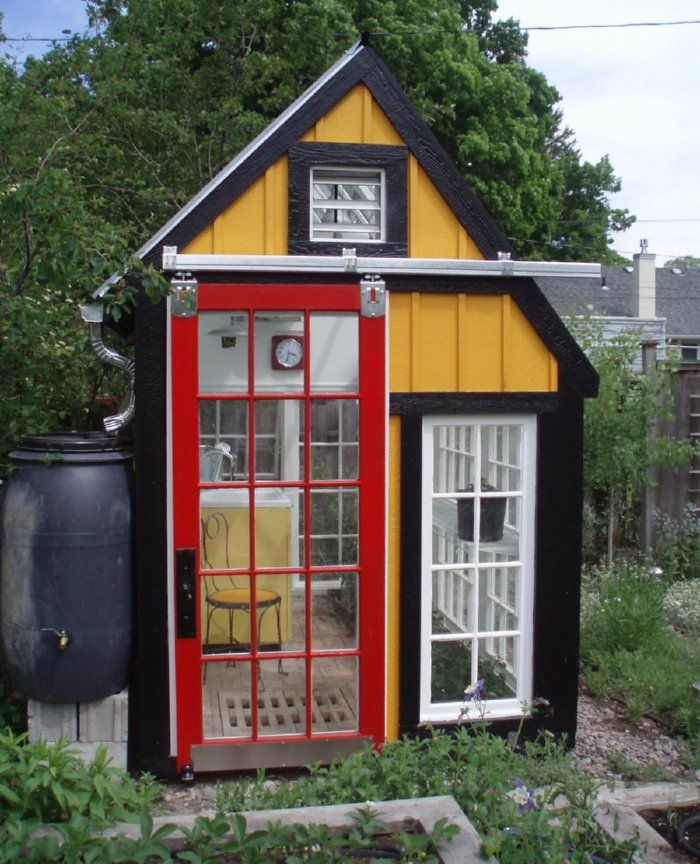 Greenhouse made of old windows gazebo ideas pinterest for Tiny house with greenhouse