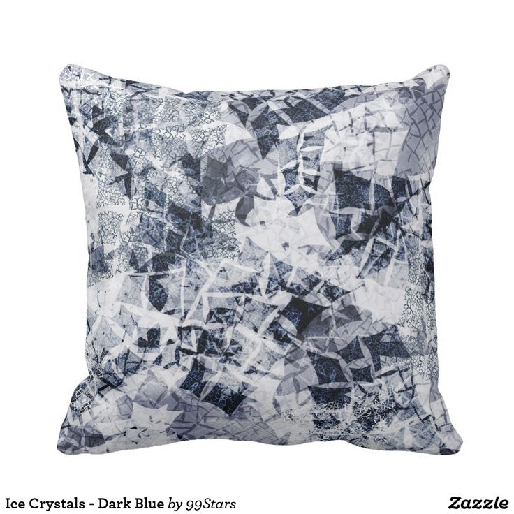 Ice Crystals - Dark Blue Throw Pillow