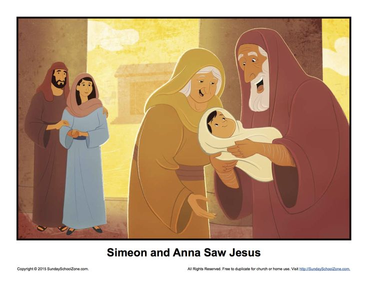 simeon and anna saw jesus story illustration