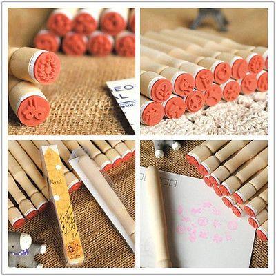 New 15 Models Korean Cute Cartoon Diary Long Wooden Handle Rubber Stamp | eBay