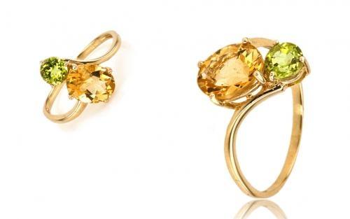 Prsteň dámsky s farebnými kameňmi žlté zlato