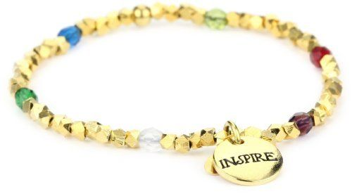 "Dillon Rogers ""A Charmed Wrist"" Inspire Charm Bracelet Dillon Rogers. $24.26. strung on a stretch cord one size fits all. Made in United States. Glistening gold plated beads and crystals. The gold beads and jewel tone crystals make a timeless statement"