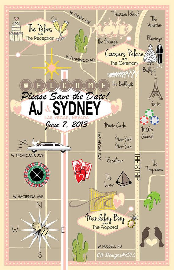 As Seen on STYLE ME PRETTY - Custom Fun Wedding Map Las Vegas Pink via Etsy