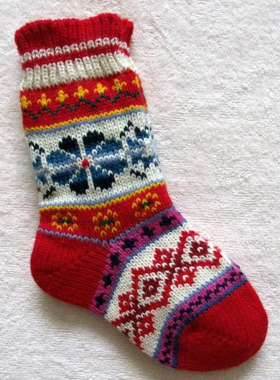 NORWEGIAN Hand Crafted 100% wool socks, kids, children, folk art
