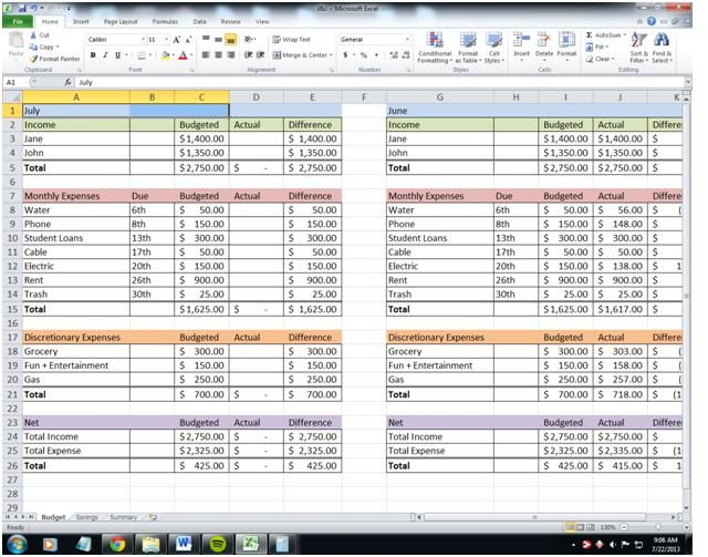spreadsheets for bills