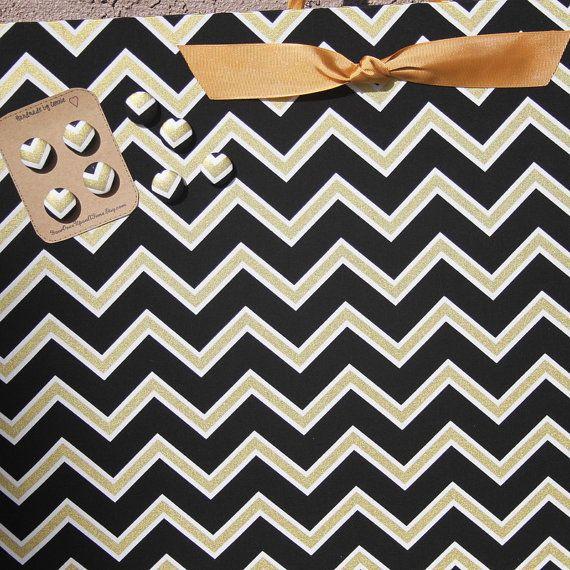 "Chevron Magnet Board (12"" x 18"") Black and Gold chevron,  Fabric Magnetic Bulletin Board, Photo Display, Memo Board, Wedding decor,"