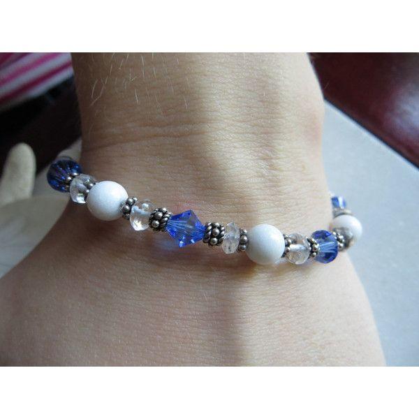 Bracciale di giada montagna bracciale quarzo cristallo di Rocca,... ($45) ❤ liked on Polyvore featuring jewelry, marble jewelry, gemstone jewelry, gem jewelry and gemstone jewellery
