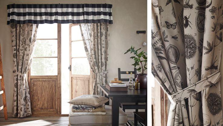 esszimmer mit ikea gardinen und schabracke u a mit bl vinge gardinen und raffhalter in beige. Black Bedroom Furniture Sets. Home Design Ideas