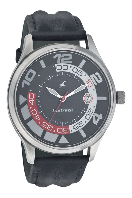 A large round sporty watch with a black, White racer Red dial and a large date window at 3H, this timepiece is completed with a double padded black strap.. Sport from Fastrack http://www.fastrack.in/product/n3033sl02/?filter=yes=sport=2=995=3495=12