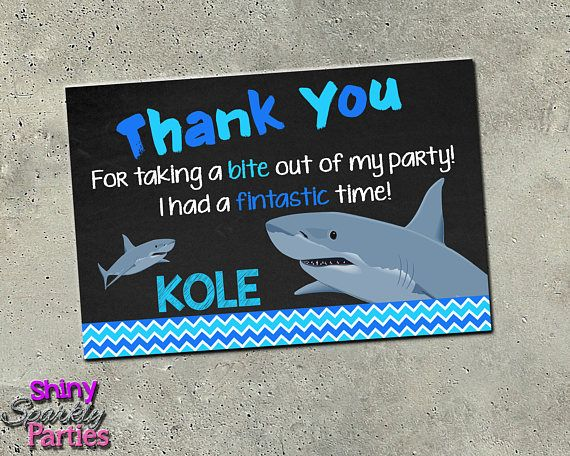 "SHARK THANK YOU Card - ""Shark Thank You"" Shark Birthday Thank You Note - Pool Party - Summer - Ocean - Chalkboard - Shark Pool Party  Sharks"