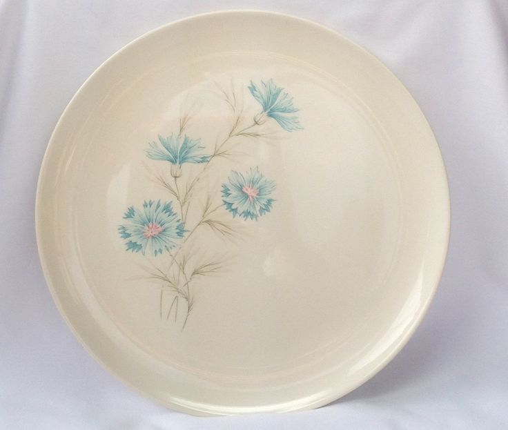 Vintage Even Yours Boutonniere Teal Blue Flower Dinner Dish Plate Taylor Smith & Taylor USA (10.20 USD) by Hummingbirdswing