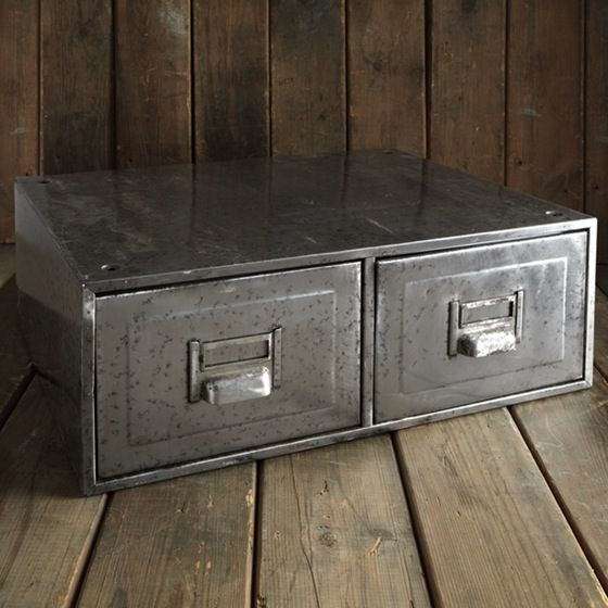 Brushed Metal Vintage Filing Drawers | Industrial Accessories | raspberrymash.co.uk | Warehouse Home Design Magazine