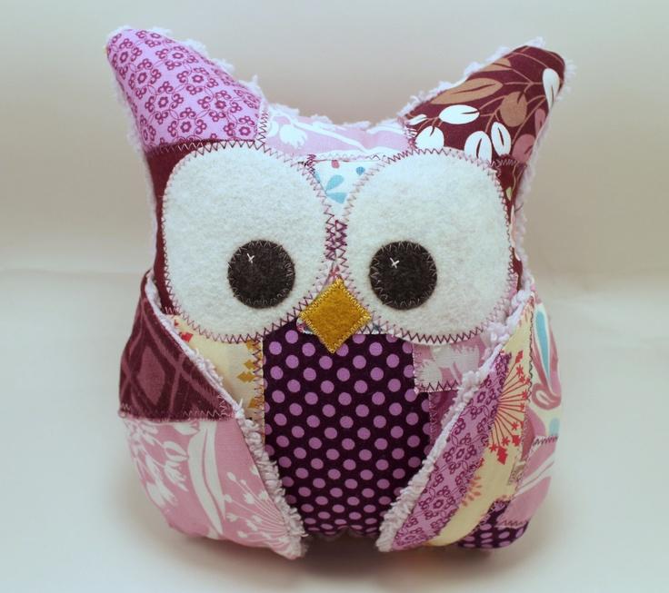 Plush Owl Pillow - patched owl- chenille - purple/lavender. $34.00, via Etsy.