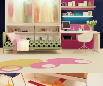 Clever Teen Room Design Ideas For Small Living Space by Clei : Smart Teen Room Design Ideas with Small Space by Clei – Awesome Blue Teen Bedroom Design with Colorful Minimalist Furniture