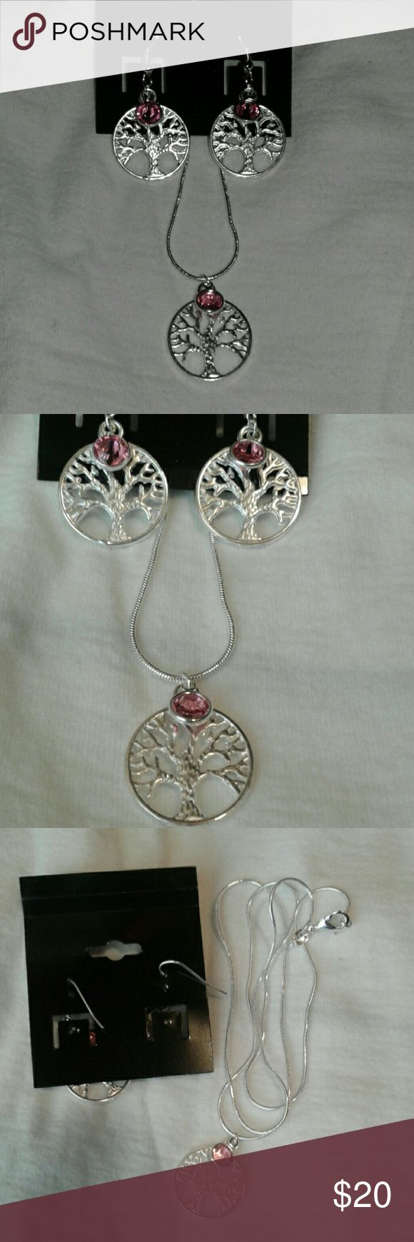 "October birthstone set Chain is real silver stamped 925, tree of life is silver tone in color with October birthstone. Chain is 22"" in length, light weight with a  very slender rope shape. Items were never worn. Jewelry Earrings"
