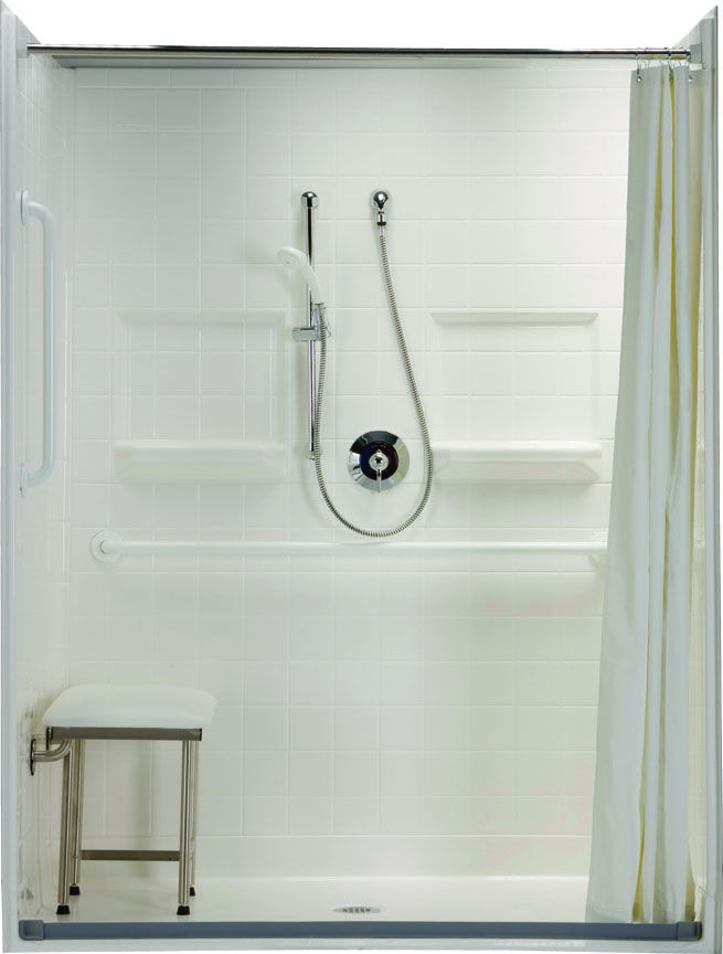barrier free accessible shower with beveled threshold and accessory package that includes curtain rod