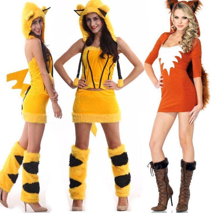 Sexy Women Fox Pikachu Fancy Dress Costume Party Furry Tail Ear Cosplay Outwear #NA #CompleteCostume #partyclub