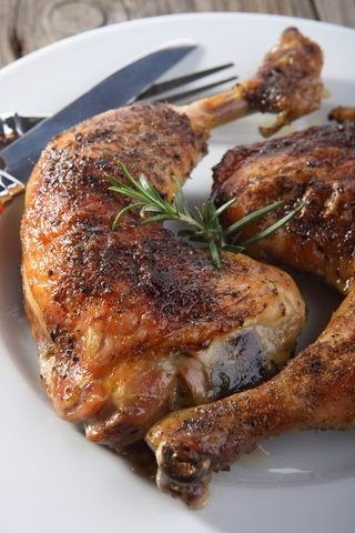 Oven Fried Chicken Leg Quarters With Herbs And Spices Food Pinte