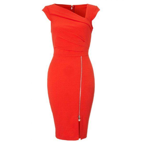 Sexy Skew Neck Sleeveless Zippered Bodycon Women's Dress