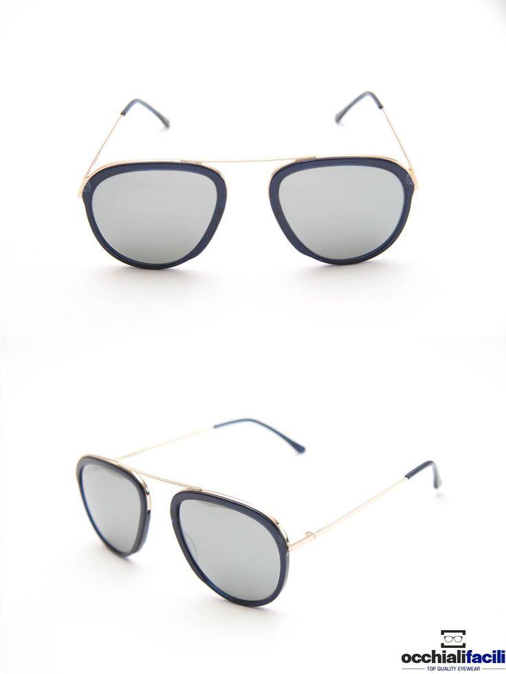Occhiali da sole G-Sevenstars Lussuria B con frontale e terminali in celluloide blu scuro, aste e ponte in metallo dorato. http://www.occhialifacili.com/prodotto/occhiali-da-sole-g-sevenstars-lussuria-b/