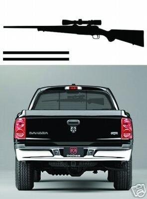 Rifle Rear Window Rack DECAL / STICKER truck Deer rack | #37361522