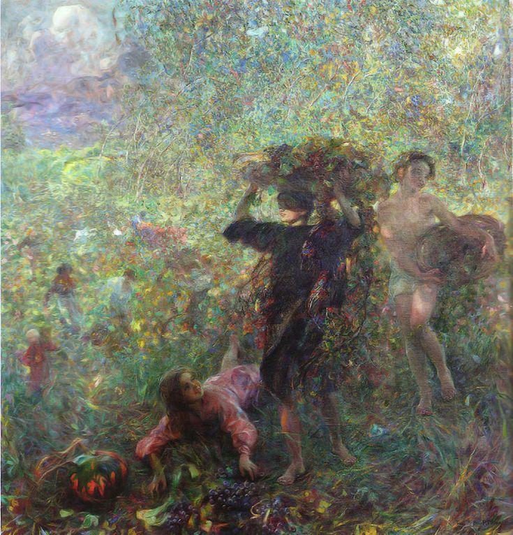 """Plinio Nomellini (Livorno 1866 - Firenze 1943), """"Autunno in Versilia"""", 1912.    olio su tela cm.200x200 Venezia, Galleria d' arte Moderna Ca' Pesaro"""