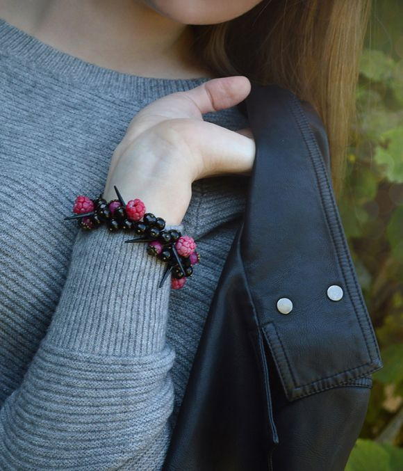 Bracelet  with raspberries that look just like natural, black agate, faceted rubellite, black crystals and glossy spikes.  #jewelry #hotpink #fashion #rockstyle #spikes #шипы #style #ring #set #model #fotoset #fotoshoot #pictures #luxury #brand #clothes #fotosetideas #photographyideas #photoshoot
