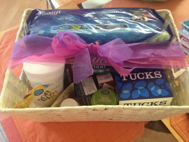 Recovery kit when baby is born! Cute and thoughtful idea for a close friend or family member who's a new mommy!