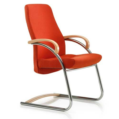 Marvelous Zante Visitor Cantilever Chair With Wooden Arms