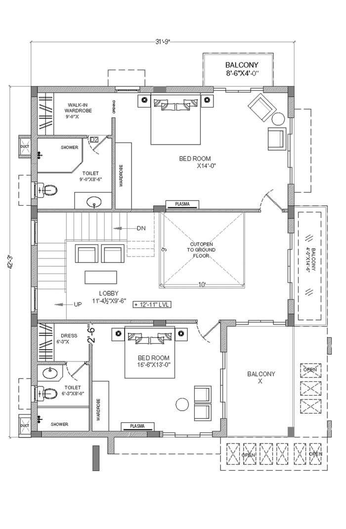 Type A East Facing Villa First Floor Plan 30x40 House Plans House Layout Plans My House Plans