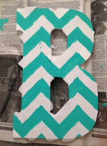 DIY chevron painted letter