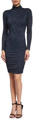 Velvet Dacey Long-Sleeve Turtleneck Dress, Harbor