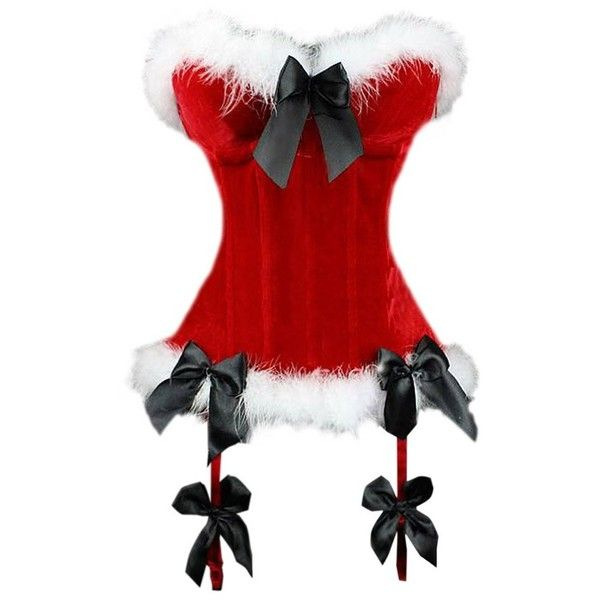 Red Sexy Womens Santa Over Bust Corset Bow Christmas Lingerie (£19) ❤ liked on Polyvore featuring intimates, shapewear, lingerie, corset, underwear, undergarments and red