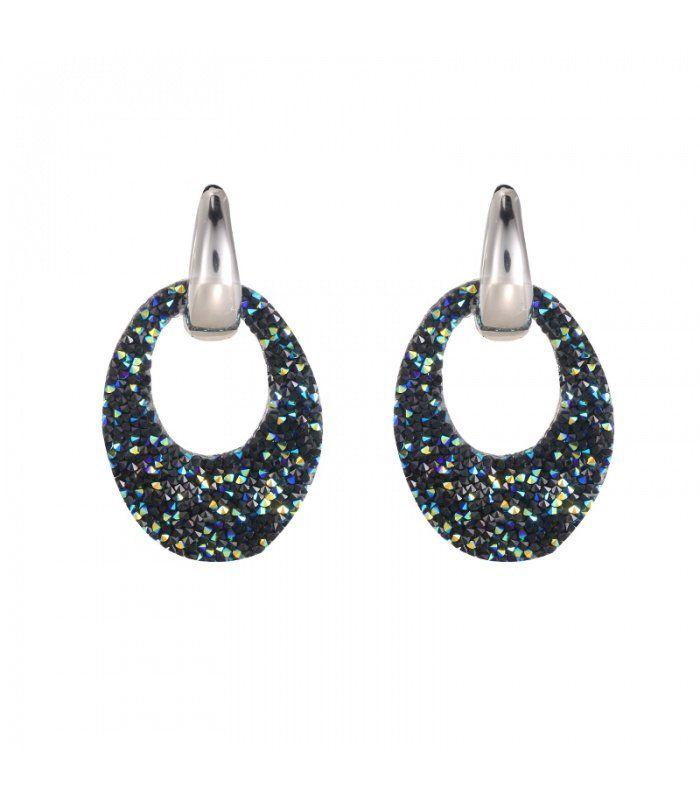 Zilverkleurige oorbellen met een blauwe ovale hanger|De lengtes vande oorbellen zijn 4.50 cm | Yehwang fashion en sieraden