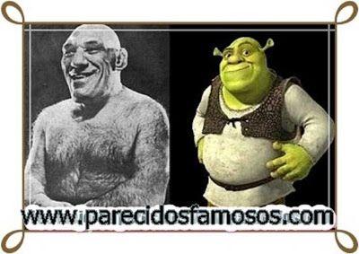 Parecidos con famosos: El Luchador Maurice Tillet con Shrek