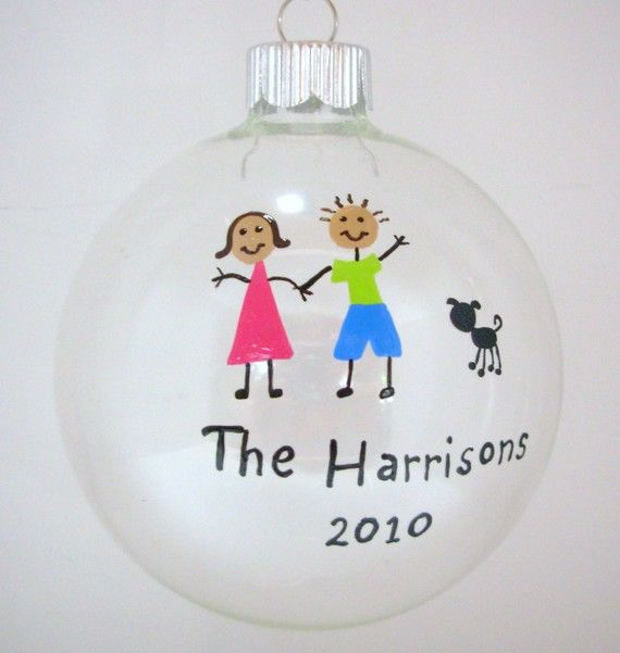 Family Christmas Ornament Handpainted Personalized