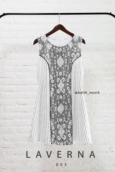 Laverna 003 Tenun Pattern with Stripe Combination Princess Dress  Length of Dress : approx. 92 cm  Material used : Tenun Pattern, Cotton / Premium Stripe Fabric, Cotton.  Standard zipper length (50-55cm) at the back.