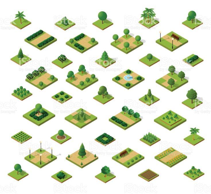 Ensemble de parcs urbains isométriques ensemble de parcs urbains isométriques – cliparts vectoriels et plus d'images de perspective isométrique libre de droits