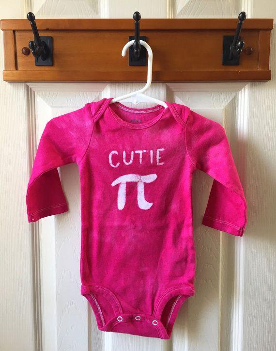 Fuchsia Pi Day Baby Bodysuit 12 months Pink Pi by peacebabybatiks