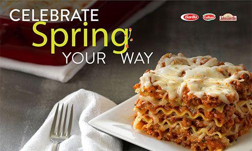 Celebrate Spring Your Way with Wavy Lasagne, Italian Sausage, Marinara, Mozzarella & Ricotta