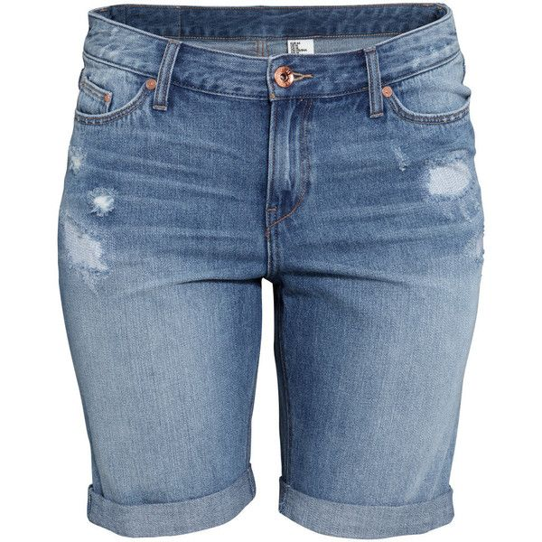 H&M+ Denim shorts ($19) ❤ liked on Polyvore featuring shorts, bottoms, pants, plus size, denim blue, low rise shorts, denim short shorts, knee high shorts, blue shorts and denim shorts
