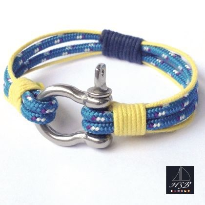 Blue paracord bracelet with yellow and blue line and stainless steel shackle - 45 RON